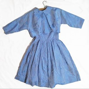 Vintage 1960s Fit and Flare Dress Taffeta Floral